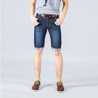 designer casual jeans - 2015 Hot Sales Fashion Casual Mens Jean Shorts Cotton Straight Ripped Designer Jeans Shorts Men Knee Length Classic Short Jeans