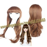 grapefruit - piano girl blowing grapefruit CM long blown curls COSPLAY wig long curly cosplay wig with neat bang L1504L87 C