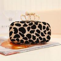Compra De embrague del anillo de leopardo-Los bolsos de tarde del cráneo del embrague del leopardo de las mujeres con el diseñador clásico A93 de los bolsos del partido de la manera de las señoras del anillo liberan el envío