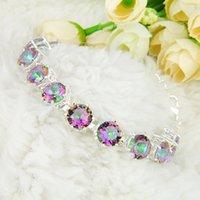 Wholesale 2PCS High Quality Holiday Gift Trendy Round Rainbow Mystic Topaz Gemstone Chain Bracelet B1007