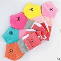 Cheap (10Pieces 5Pairs Lot) Wholesale embroidery cotton sports boat socks stealth candy color women socks