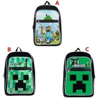Wholesale 2015 AAA quality kids boy girl cartoon minecraft school bag single shoulder bag lunch backpack birthday christmas gift A