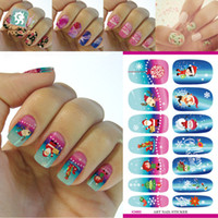 Wholesale Water Transfer Foil Nails Art Sticker Blue Pink Chirstmas Gift D Design Manicure Decals Waterproof Full Nails Stickers Minx Nail Wraps
