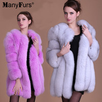 Wholesale ManyFurs Natural Genuine Fox Fur Women Coat Winter Warm Luxury Jacket Quality Supple Hair Furs Coats
