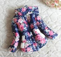 Cheap Wholesale -Girls fleece thicken coat children long sleeve outerwear kids winter cotton-padded clothes