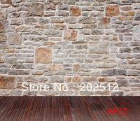 Wholesale vinyl photography backdrop photo studio prop Computer Printed background brick stone wall wood floor X7FT AA72