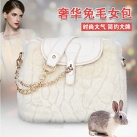 Wholesale new Korean style winter Handbags for women bucket Shape Rabbit fur hangbags Best Chain Women shoulder bags