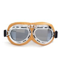 adventure touring - New Dustproof Leather Retro Motorcycle Goggles ATV Adventure Motorbike Goggles For Desert Riding Tours Yellow Frame Gafas