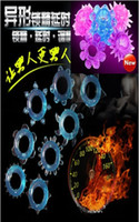 Wholesale Spiral thorn cock ring vibrating ring sex toy sex vibrator penis ring with Condom adult products Adult Sex products Retail