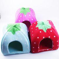 Wholesale 2016 New Winter Warm Thicken Soft Cotton Fleece Warm Cute Strawberry Dog Bed House Plush Nest Mat Pad Cushion Pet Beds Cat Dog House