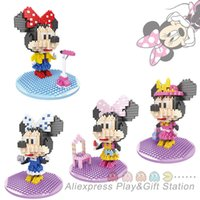Wholesale Hsanhe Minnie Action Figure style DIY assemble building blocks toys Christmas present gift for girl