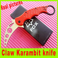 Cheap 2015 Fox Claw Karambit G10 RED Handle Folding blade knife High Quality Survival Knife cutting tools best christmas gift 660L