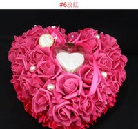 Asian & East Indian pillow gift box - New Romantic Heart Shape Wedding Ring Pillow With Gift Box colors mix new arrival B