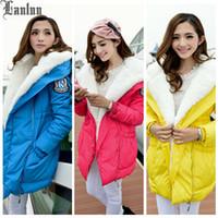 Cheap Lanluu 2014 New Winter Woman's Outerwear Slim Hooded Down Jacket Woman Winter Warm Parkas Coat SQ625