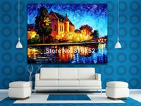 belgium prints - Palette Knife Oil Painting Belgium Denmark France Cityscape Architecture Picture Printed On Canvas For Home Office Wall Decor Art
