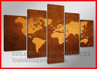 Cheap Framed 5 Panel Large Canvas Art World Map Oil Painting Mapa Wall Pictures for Living Room Home Decor XD03242