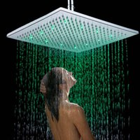 Wholesale 12 quot Chrome Finish Waterfall LED Square Shower Spray Sprinkler Head Temperature Sensor Color Changing Bathroom Accessories H15652
