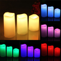 Wholesale 3 Set Wax Wireless Remote Control Color Changed LED Candle Flameless Candles Tea Light