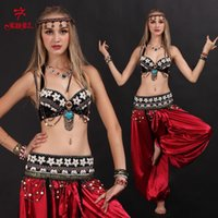 Cheap Tribal belly dance 3piece(bra+waist sealing+dress) bollywood dance costumes black S M L ropa de danza del vientre free shipping