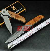 best knife handle wood - high quality OEM Browning DA30 camping knives pocket folding knife C HRC titanium surface blade wood handle best gift