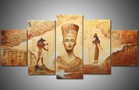 ancient egyptian paintings - hand painted modern Wall home decor Canvas oil painting Ancient Egyptian sculpture abstract oil paintings Set
