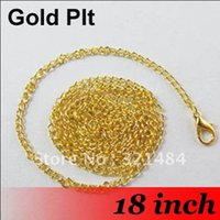 Cheap Free Ship! 100PCS 2mm 18'' Gold Plated Metal Link Curb Chain Necklace With Lobster clasp For Pendant Jewelry