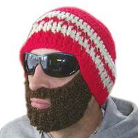 Prezzi Wool hat-Trasporto libero caldo 2016 creativa Barba novità a mano a maglia di lana divertente Octopus Cappello del partito di Natale ha lavorato a mano unisex regalo