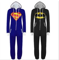 Wholesale Hot Adult Anime Theme Cosplay costume Onesie Pajamas Superman Batman Lovers couple Sleepwear Halloween Xmas gift Home suit
