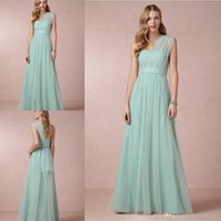 Wholesale 2016 Annabelle Bridesmaid Dresses Mint Green Floor Length Elegant A Line One Shoulder Pleated Sash Zipper Tulle Custom Made Dresses