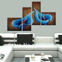 Oil Painting best house paint - Best Selling Wall Art Modern Abstract Flower Oil Painting For House Decoration Bright Your House with Blue Calla Lily
