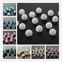 crystal ball wholesale - Shamballa Disco Balls Clay Micro Pave Crystal Rhinestones Colors mm mm mm mm Through Half Drilled Jewelry Making Beads