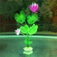 Wholesale New Pretty Purple Lotus Artificial Grass Aquarium Fish Tank Aquatic Simulation Plant Ornament Decoration