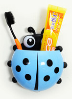 Wholesale 1 piece Lovely Ladybug Toothbrush Wall Suction Bathroom Sets Cartoon Sucker Toothbrush Holder Suction Hooks price good quality