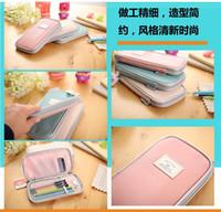 Wholesale Candy Color Fashion Girls boys Pencil Bags School Funky Supplies Children Kids Korean Students Pencil Cases PU Bag