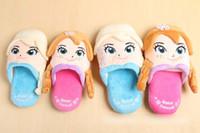 Wholesale New Arrival Frozen Elsa Anna Slippers Winter Children Cartoon Warm Slippers Kids Foot Room Wear Shoes Blue Pink