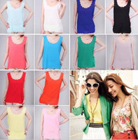 Wholesale 2015 New Fashion Summer Women s Clothes Sleeveless Solid Candy Color Causal Vest Tank Shirt