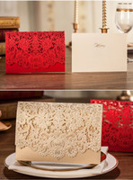 Wholesale 2015 New Luxury Laser Cut Wedding invitations Elegant Red Wedding Invitations Customized Party Invitation Cards
