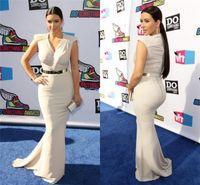 Cheap Sexy Celebrity Dresses V Neck Satin Summer Cap Sleeves Kim Kardashian Mermaid Evening Gowns beautiful_dress