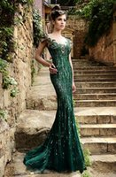 online shopping - Wonderful Green Sequins Applique Cap Sleeve Floor Length Mermaid Evening Dresses Online Shopping