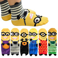 Wholesale Hot Minion Socks cute cartoon sox Cotton Printing Tube Socks floor Socks