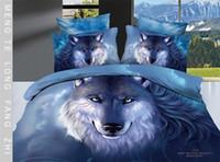 Cheap Wholesale-100% Cotton 3d Animal bed set bedding set queen size 4pcs Lion Tiger Wolf Leopard printed duvet cover bedclothes bed linen @