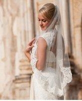 Wholesale Single Tier Ivory Veil - single tier finger tip waist length Alencon lace wedding veil, bridal veil- in white, light ivory, and ivory