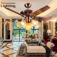 Wholesale Bronze ceiling lights fans LED ceiling fan lamp living room bedroom dining room blades inches