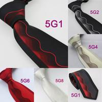 Cheap YIBEI Mens ties Bordered Contrast S Stripes Jacquard Woven Necktie Silk Neck tie fashion Ties for men dress shirts Wedding 8.5CM