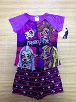 D'été, un pantalon court Prix-New Girl Monster 4 modèles Haute École d'été Vêtements Définit les enfants de la fille pour toujours sleeveT haute shirt court + Pantalons Courts