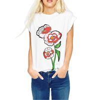 Femmes imprimé floral t-shirt blanc manches courtes t-shirts casual chemises féminines T-shirts d'été O-col DT442