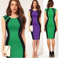 Wholesale Slim Package Hip Dress OL Color Pencil Skirts Sleeveless Zipper Dress Red Purple Green Dress B