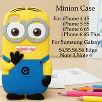 Wholesale Case Galaxy Note Minions - Despicable Me 2 Minion Soft Silicone Rubber Yellow Cartoon Skin Case Cover For iPhone 6 6S Plus 5 5S 4S Galaxy S6 edge S5 S4 Note 4 3 50pcs