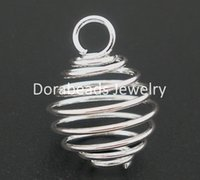 cage wire - Silver Plated Spiral Bead Cages Pendants Findings x15mm B04109