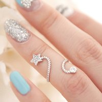 Wholesale Min Order Rhinestone five pointed star flower butterfly openings ring spiral joint finger ring for fashion lady BE1029